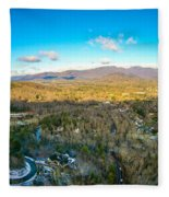 Aerial View On Mountains And Landscape Covered In Snow Fleece Blanket
