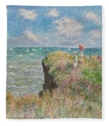 Cliff Walk At Pourville Fleece Blanket