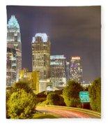 Downtown Of Charlotte  North Carolina Skyline Fleece Blanket