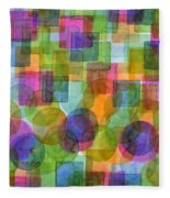 Befriended Squares And Bubbles Fleece Blanket