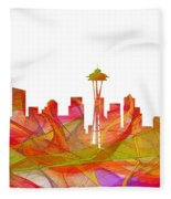Seattle Washington Skyline Fleece Blanket