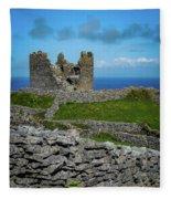 14th Century O'brien's Castle Aran Islands Fleece Blanket by James Truett