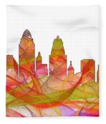 Cincinnati Ohio Skyline  Fleece Blanket