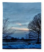 Sunset Over Obear Park In Snow Fleece Blanket