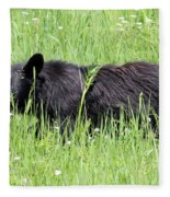 American Black Bear Yellowstone Usa Fleece Blanket