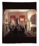 Jlm-1820-henry Sargent-the Dinner Party Henry Sargent Fleece Blanket