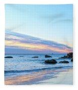Rocky Daybreak Seascape Fleece Blanket