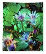 Jeweled Water Lilies Fleece Blanket