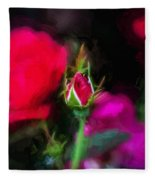 Knockout Roses Painted  Fleece Blanket