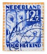 Old Dutch Postage Stamp Fleece Blanket