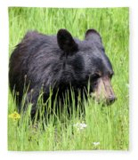 American Black Bear Yellowstone Usa Fleece Blanket