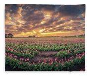 180 Degree View Of Sunrise Over Tulip Field Fleece Blanket