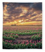 180 Degree View Of Sunrise Over Tulip Field Fleece Blanket