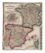 1800s France, Spain And Portugal County Map Color Fleece Blanket