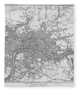 1800s London Map Black And White London England Fleece Blanket