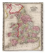 1800s Wales County Map Wales England Color Fleece Blanket