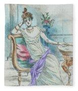 1804 Paris France Fashion Drawing Fleece Blanket