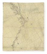 1807 North America Coastline Map Fleece Blanket