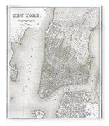 1839 New York City Map Fleece Blanket