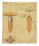 1868 Base For Baseball Players Patent In Sepia Fleece Blanket