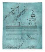 1868 Fishing Tackle Patent Blue Fleece Blanket