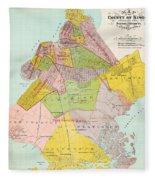 1869 King County Map Fleece Blanket