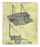 1882 Fishing Net Patent Fleece Blanket