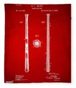 1885 Baseball Bat Patent Artwork - Red Fleece Blanket