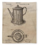 1889 Coffee Pot Patent Illustration Fleece Blanket