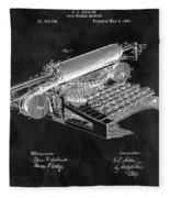 1896 Typewriter Patent Illustration Fleece Blanket