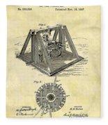 1897 Oil Rig Patent Fleece Blanket