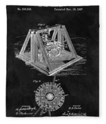 1897 Oil Well Rig Patent Design Fleece Blanket