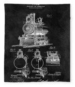 1898 Locomotive Headlight Patent Fleece Blanket