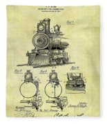 1898 Locomotive Patent Fleece Blanket