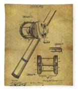 1899 Fishing Reel Patent Fleece Blanket