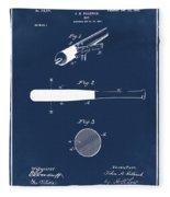 1902 Baseball Bat Patent In Blue Fleece Blanket