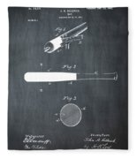 1902 Baseball Bat Patent In Chalk Fleece Blanket