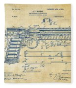 1903 Mcclean Pistol Patent Artwork - Vintage Fleece Blanket
