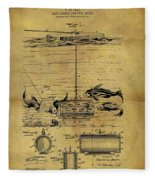 1904 Fishing Decoy Patent Fleece Blanket