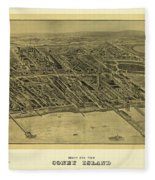 1906 Bird's Eye View Coney Island Fleece Blanket