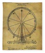 1907 Ferris Wheel Patent Fleece Blanket