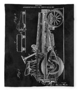 1907 Tractor Blueprint Patent Fleece Blanket