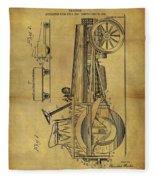 1907 Tractor Patent Fleece Blanket