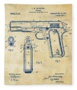 1911 Colt 45 Browning Firearm Patent Artwork Vintage Fleece Blanket