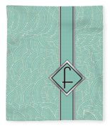 1920s Blue Deco Jazz Swing Monogram ...letter F Fleece Blanket