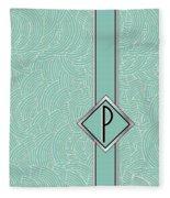 1920s Blue Deco Jazz Swing Monogram ...letter P Fleece Blanket