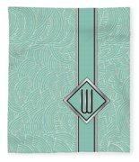 1920s Blue Deco Jazz Swing Monogram ...letter W Fleece Blanket