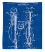 1930 Gas Pump Patent In Blue Print Fleece Blanket