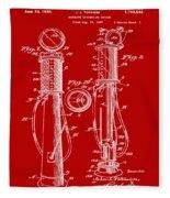 1930 Gas Pump Patent In Red Fleece Blanket