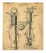 1930 Gas Pump Patent In Sepia Fleece Blanket